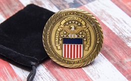 DLA Agency Brass Challenge Coin with Epoxy