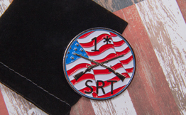 SRT Custom Challenge Coin with Paint Filled Flag